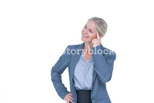 Businesswoman thinking with finger on head