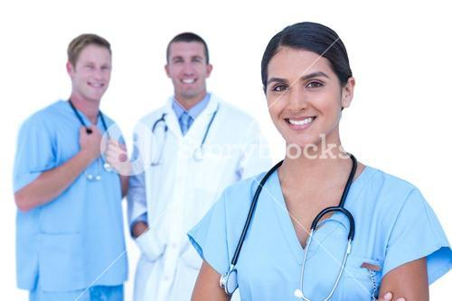 Doctor and nurse with arms crossed discussing