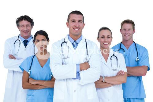 Doctors and nurses standing together
