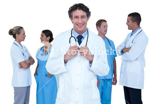 Doctors and nurses discussing together