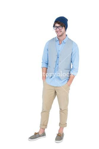 Geeky hipster with hands in pocket