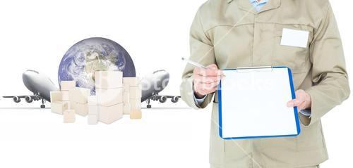Composite image of delivery man showing blank paper on clipboard