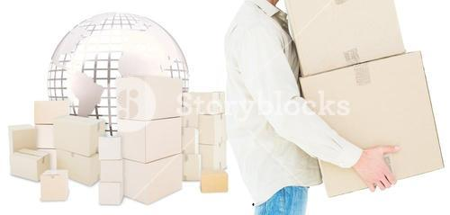 Composite image of delivery man carrying cardboard boxes