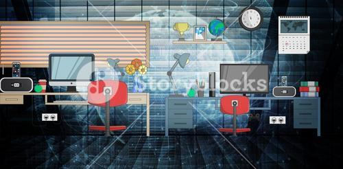 Composite image of desk with computer