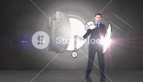 Composite image of corporate warrior