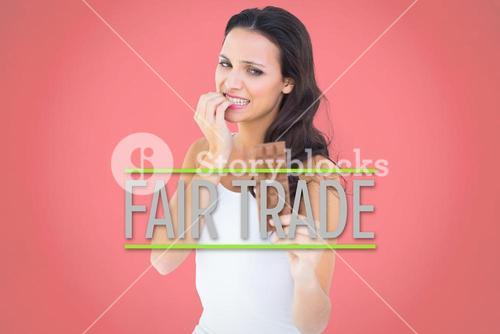 Composite image of pretty brunette fearfully looking at chocolate