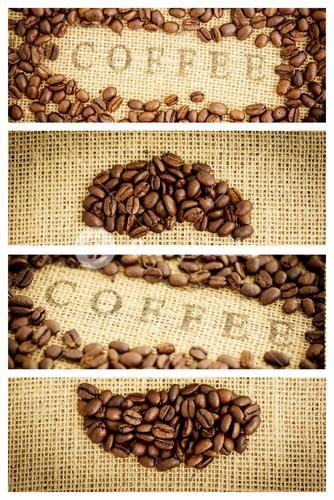 Composite image of coffee beans surrounding coffee stamp on sack