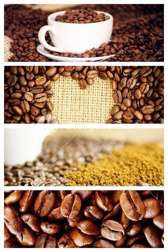 Composite image of morning coffee with beans