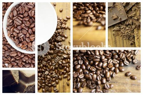 Composite image of tag and coffee beans
