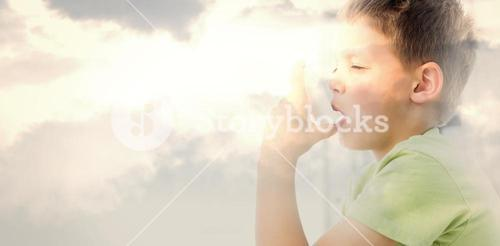 Composite image of boy using an asthma inhaler in clinic