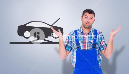 Composite image of confused handyman giving i dont know gesture