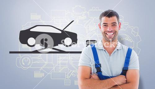 Composite image of happy manual worker