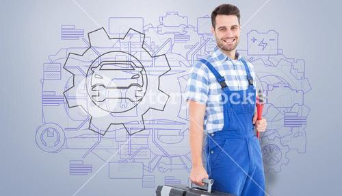 Composite image of smiling young male repairman carrying toolbox