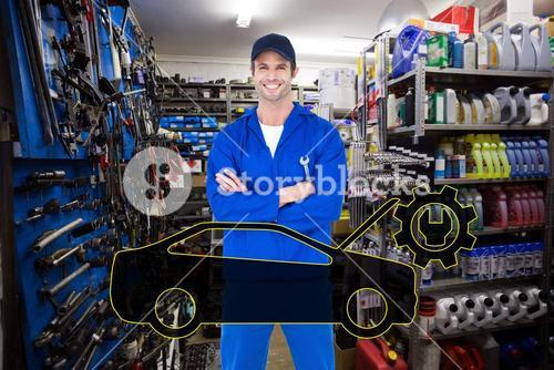 Composite image of confident mechanic holding wheel wrenches
