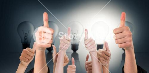Composite image of hands showing thumbs up