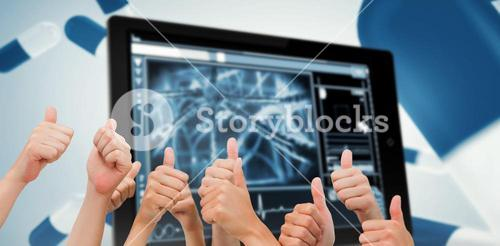 Composite image of group of hands giving thumbs up