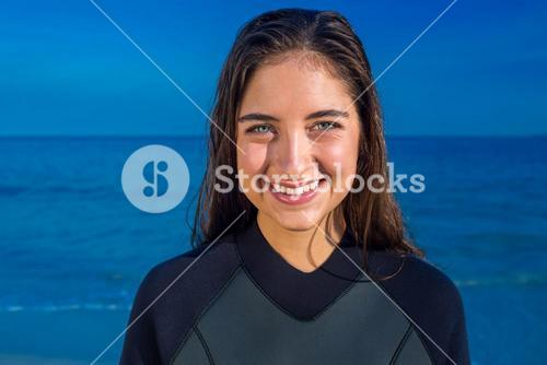 Woman in wetsuit on a sunny day