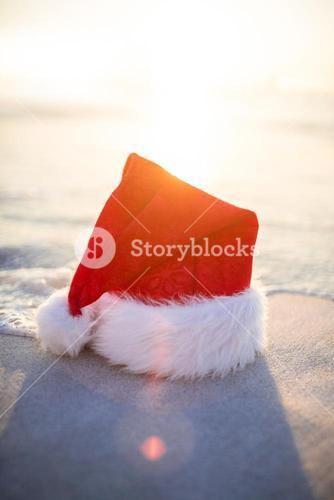 Santa hat on the beach