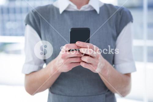 People who texting with his mobile phone