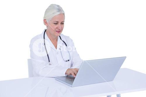 Doctor working on her laptop