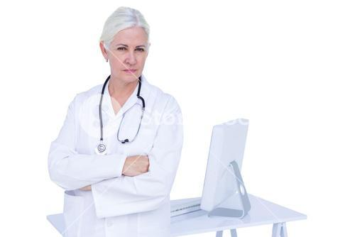 Doctor working on her computer