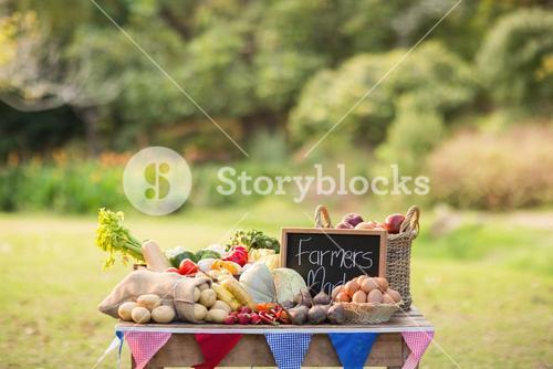 Table with locally grown vegetables