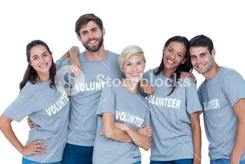 Volunteers friends smiling at the camera