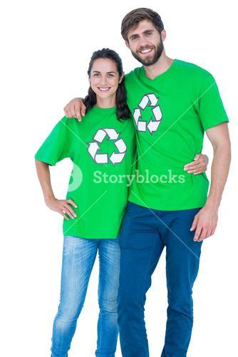 Friends wearing recycling tshirts