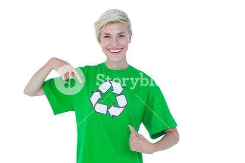 Blonde pointing her recycling tshirt