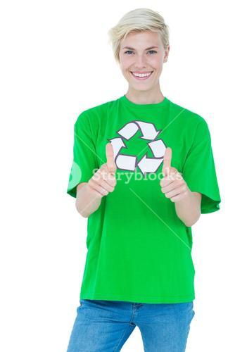 Blonde wearing a recycling tshirt gesturing thumbs up