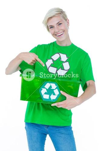 Blonde wearing a recycling tshirt holding recycle box