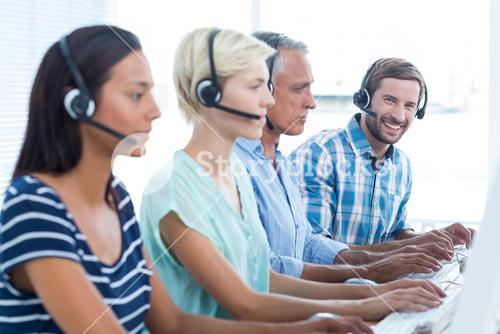 Casual call centre workers in the office
