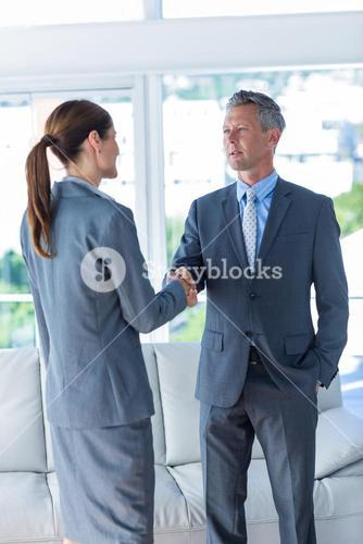 Two business workers shake hands