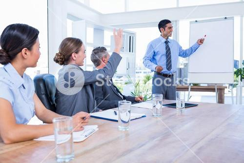 Business people talking during a meeting