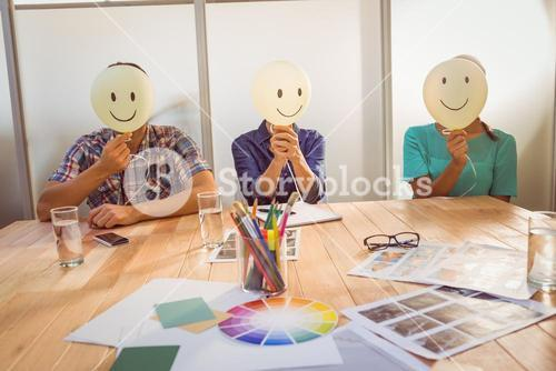Casual people sitting on chair with smile head