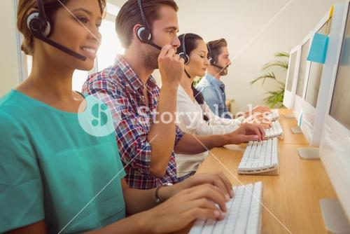 Business team working at the call centre