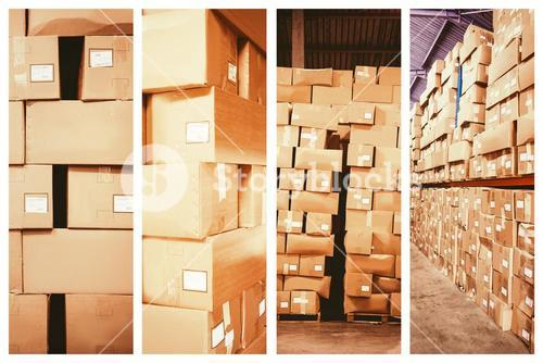 Composite image of cardboard boxes in warehouse
