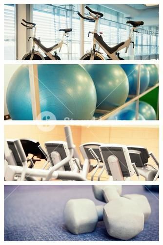 Composite image of spin bikes in fitness studio
