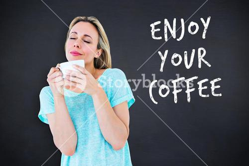 Composite image of peaceful blonde with hot beverage relaxing
