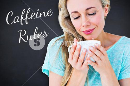 Composite image of smiling blonde with hot beverage relaxing