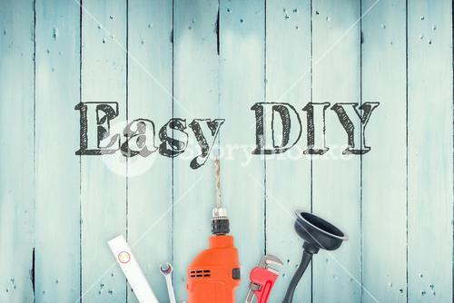 Easy diy against diy tools on wooden background