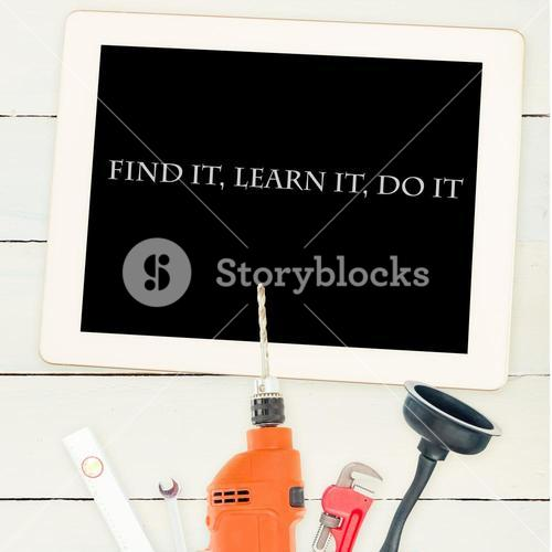 Find it, learn it, do it against tools and tablet on wooden background
