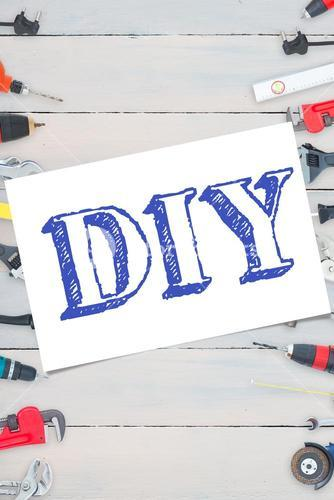 Diy against tools on wooden background