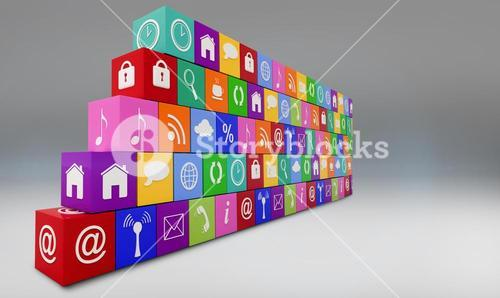 Composite image of wall of apps