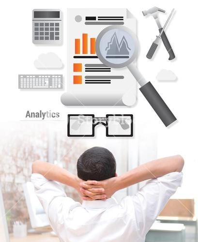 Composite image of businessman with hands behind head at desk