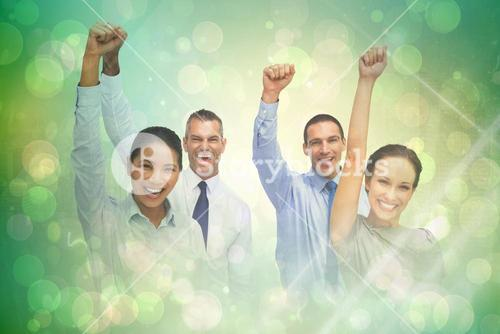 Composite image of cheerful work team posing with hands up