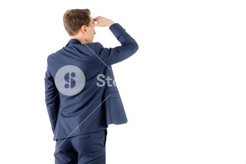 Wear view of businessman looking away