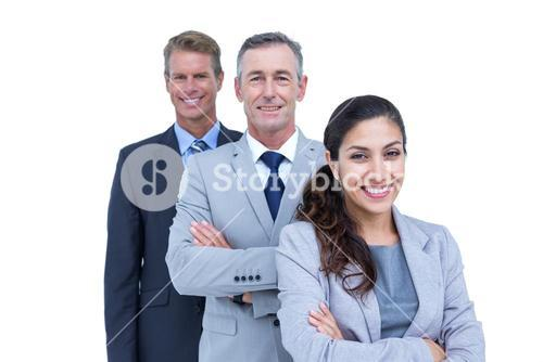 Happy business team standing in a line