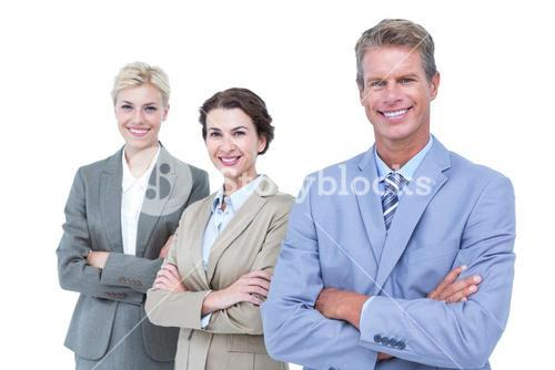 Businessman in a row with his business team