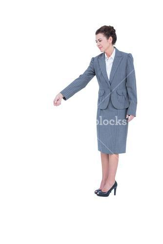A businesswoman is gesturing